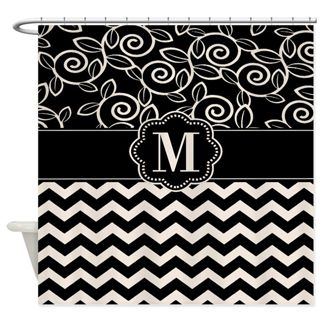 Tan Black Chevron Monogram Shower Curtain By