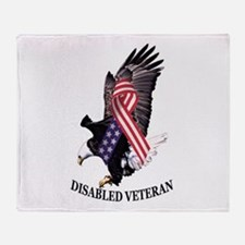 Disabled Veteran Eagle And Ribbon Throw Blanket