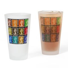 UK Stamps Drinking Glass
