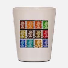 UK Stamps Shot Glass