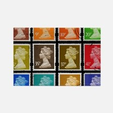 UK Stamps Rectangle Magnet
