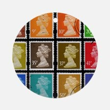 UK Stamps Round Ornament