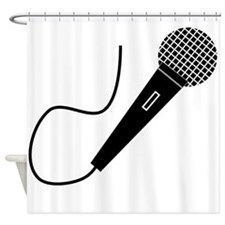 Black Microphone Shower Curtain
