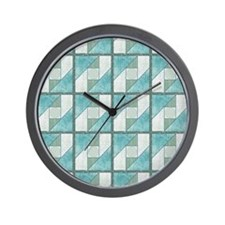 Attic Window Mint Green  Blue Quilt Blo Wall Clock