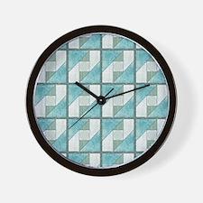 Attic Window Mint Green  Blue Quilt Blo Wall Clock