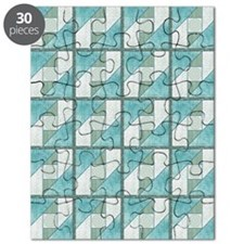 Attic Window Mint Green  Blue Quilt Blocks  Puzzle