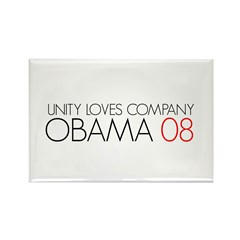 OBAMA 08-UNITY LOVES COMPANY Rectangle Magnet