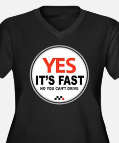 Yes Its Fast Women's Plus Size Dark V-Neck T-Shirt