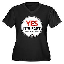 Yes Its Fast Women's Plus Size Dark V-Neck T-Shirt