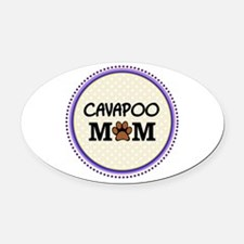 Cavapoo Dog Mom Oval Car Magnet