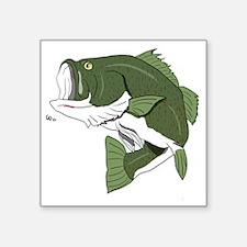 "Largemouth Bass Square Sticker 3"" x 3"""