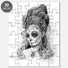 Maroon Dia de los Muertos pillow case right Puzzle