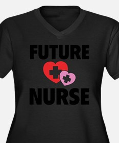 futureNurse1 Women's Plus Size Dark V-Neck T-Shirt