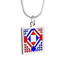 Ornament O Iowa V-181 copy Silver Square Necklace