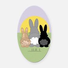 Rabbittude Posse Journal Oval Car Magnet