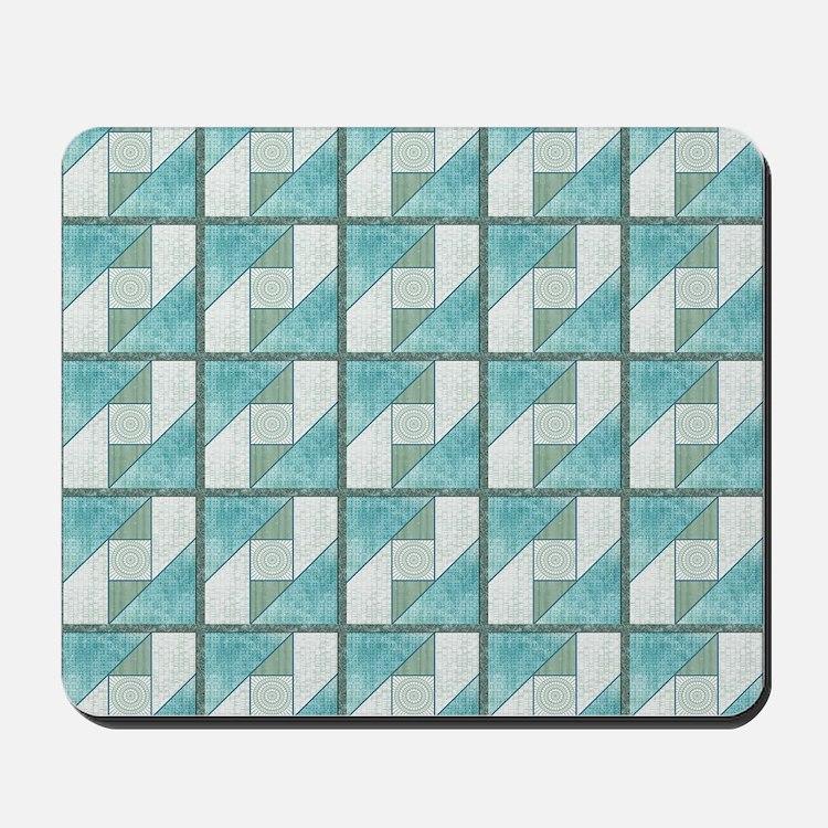 Attic Window Mint Green  Blue Quilt Bloc Mousepad
