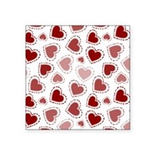 """Fun Red Hearts Square Sticker 3"""" x 3"""""""