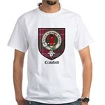 Crawford Clan Crest Tartan White T-Shirt