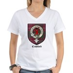 Crawford Clan Crest Tartan Women's V-Neck T-Shirt