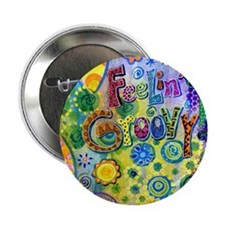 "Feelin Groovy Square 2.25"" Button"