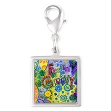 Feelin Groovy Square Silver Square Charm