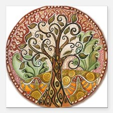 """Tree of Life Square Car Magnet 3"""" x 3"""""""