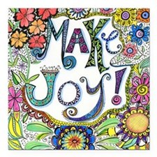 "Make Joy Square Car Magnet 3"" x 3"""