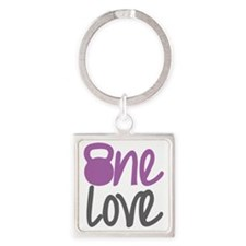 Purple One Love Kettlebell Square Keychain