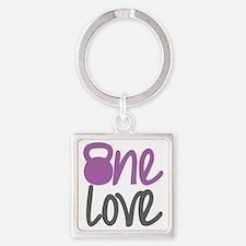 Purple One Love Kettlebell Square Keychain