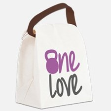 Purple One Love Kettlebell Canvas Lunch Bag
