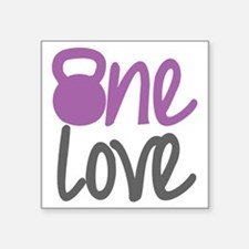 "Purple One Love Kettlebell Square Sticker 3"" x 3"""