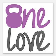 "Purple One Love Kettlebe Square Car Magnet 3"" x 3"""