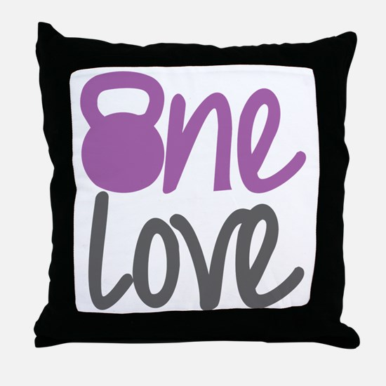 Purple One Love Kettlebell Throw Pillow