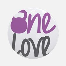 Purple One Love Kettlebell Round Ornament