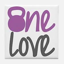Purple One Love Kettlebell Tile Coaster