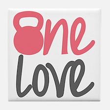 Pink One Love Kettlebell Tile Coaster
