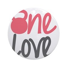 Pink One Love Kettlebell Round Ornament