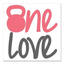 """Pink One Love Kettlebell Square Car Magnet 3"""" x 3"""""""