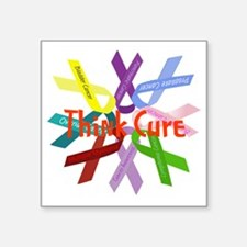 "Think Cure Square Sticker 3"" x 3"""
