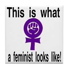 This is what a feminist looks like pu Tile Coaster