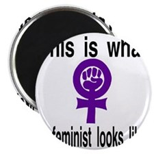 This is what a feminist looks like purple Magnet