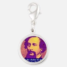 Charles Dickens Silver Round Charm