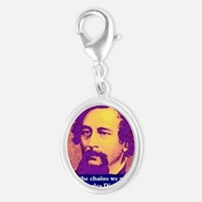 Charles Dickens Silver Oval Charm