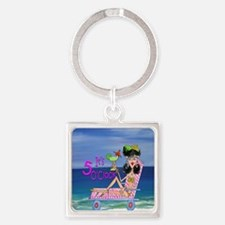 Beach Girl Square Keychain