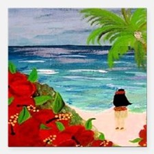 "Hula Girl on the Beach Square Car Magnet 3"" x 3"""