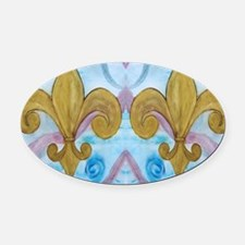 Gold Fleur de lis on blue Oval Car Magnet