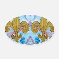 Gold Fleur de lis on blue Oval Car Magnet