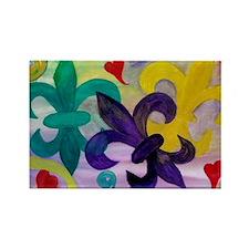 Mardi Gras Fleur de lis Rectangle Magnet
