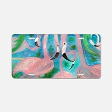Flamingo Party Aluminum License Plate