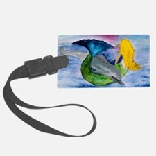 Playful Mermaid  Dolphin Luggage Tag